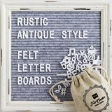 Felt Creative Home Goods Gray Felt Letter Board with Rustic White Wood Farmhouse Vintage Frame