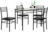 VECELO Dining Table with 4 Black Chairs