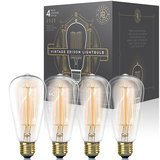Gordon & Bond Dimmable Vintage Edison Light Bulb with Exposed Filaments (60w 4-Pack)