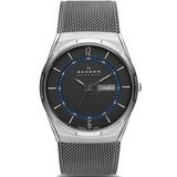 Skagen Men's Titanium Mesh Watch With Blue Accents